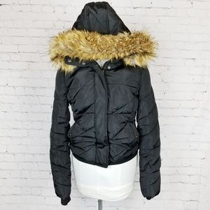 Zara Trafaluc| Black Fur Trimmed Hood Puffer Coat